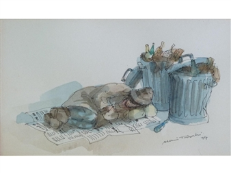 A tramp sleeping by dustbines By Albin Trowski ,1974