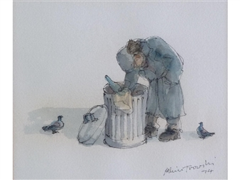 A tramp scavenging in a dustbin By Albin Trowski ,1974