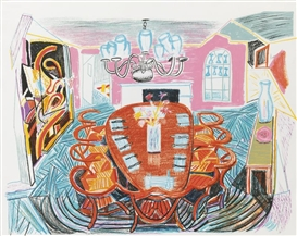 Artwork by David Hockney, TYLER DINING ROOM (TYLER 278: DH65; M. C. A. T. 261), Made of Lithograph printed in colors