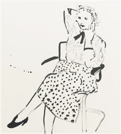 Artwork by David Hockney, CELIA IN A POLKA DOT SKIRT (GEMINI 917; NOT IN M. C. A. T.), Made of Lithograph and screenprint