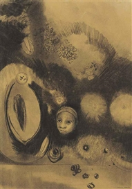 Artwork by Odilon Redon, Visage-Germination, Made of charcoal on buff paper