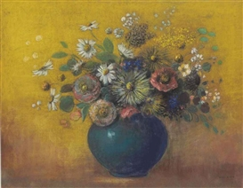 Artwork by Odilon Redon, Bouquet de fleurs, Made of pastel on paper laid down on board