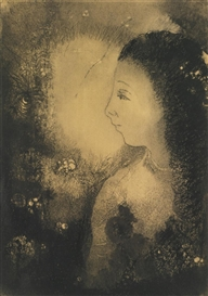 Artwork by Odilon Redon, PROFIL DE FEMME AVEC FLEURS, Made of Charcoal on paper