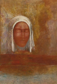 Artwork by Odilon Redon, LA VIERGE D'AURORE, Made of Oil on panel