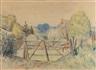 Friedrich Ahlers-Hestermann, Landschaft mit Zaun im Vordergrund