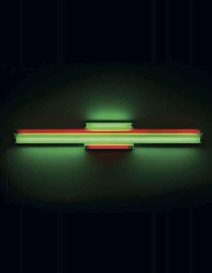 Artwork by Dan Flavin, Red and Green Alternatives (To Sonja), Made of Red and green fluorescent light