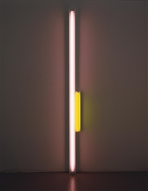 Artwork by Dan Flavin, UNTITLED, Made of pink and yellow fluorescent light