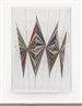 Mark Grotjahn, UNTITLED (COLORED BUTTERFLY WHITE BACKGROUND 6 WINGS)