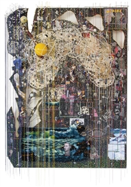 Artwork by Elliott Hundley, LET THE WHOLE HOUSE CRASH. SEASON IV, Made of wood, sound board, inkjet print on Kitakata, paper, pins, photograph, string, plastic, wire, glass, found lace