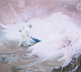 Artwork by Inka Essenhigh, SNOWFLAKE (PINK), Made of oil on canvas