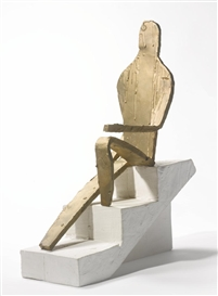 Artwork by Bruce Nauman, MAQUETTE FOR 5 FOOT 8 INCH FIGURE, Made of bronze and Tuff-Cal Plaster