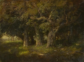 Artwork by William Keith, Study of oaks, Made of Oil on canvas