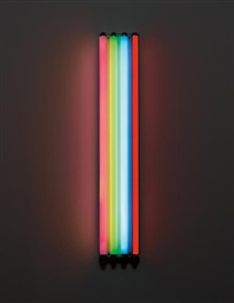 Artwork by Dan Flavin, Untitled (to Jean-Christophe), Made of pink, green, blue and red fluorescent light