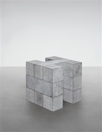 Artwork by Carl Andre, Belgicube II, Made of limestone