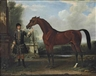Thomas Spencer, 'Bay Bolton', held by a groom, in a parkland setting
