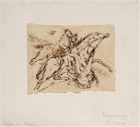 Artwork by Eugen von Kahler, Battle of Horsemen, Made of Pen Drawing