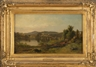 James McDougal Hart, A river landscape with town and distant mountains