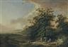 Johann Heinrich Wüest, 2 WORKS: LANDSCHAFT MIT REISENDEN AN EINEM FLUSSUFER; LANDSCHAFT MIT FISCHERN, HIRTEN UND VIEH