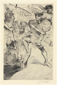 Artwork by Lovis Corinth, RAUB DER HELENA, Made of Etching on buff simili-Japan paper