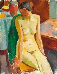 Artwork by Karl Oscar Isakson, Seated model, Made of Oil on canvas