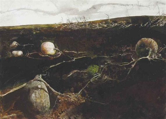 Artwork by Andrew Wyeth, Pumpkin Hill, Made of watercolor and drybrush on paper laid down on board