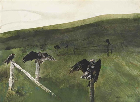 Artwork by Andrew Wyeth, After Lunch, Made of watercolor, drybrush and pencil on paper