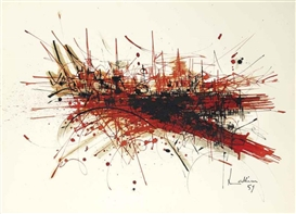 Artwork by Georges Mathieu, Sans titre, Made of ink and watercolor on paper