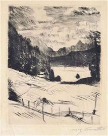 Artwork by Lovis Corinth, One Plate from: Der Walchensee (Schwarz 432/II), Made of drypoint