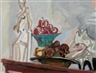 Max Gubler, Still life with gesso statuette, fruit bowl and shells