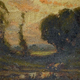 Artwork by William Keith, Wooded Landscape, Made of Oil on board