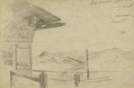 Artwork by Lovis Corinth, Berglandschaft im Appenzell, Made of pencil on paper