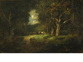 Artwork by William Keith, Cows in a forest clearing, Made of oil on canvas