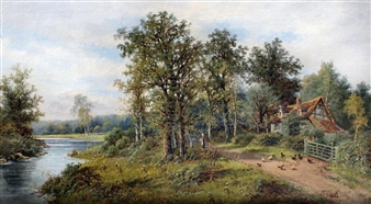 River landscape with cottage, figures and chickens to bank By Octavius T. Clark