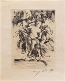 Artwork by Lovis Corinth, 2 Works: Female nude/Mother with chield, Made of etchings on wove paper