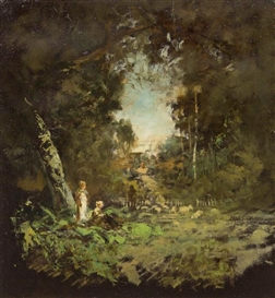 Artwork by William Keith, Forest Path, Made of oil on board