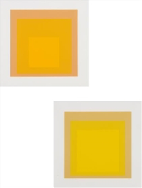 Artwork by Josef Albers, 2 works: I-S LXX a; and I-S LXX b, Made of screenprints in colours, on German Etching paper