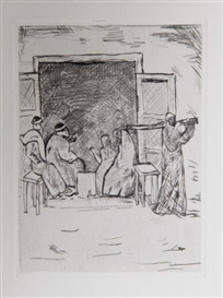 Artwork by Eugen von Kahler, Family in House, Made of Etching