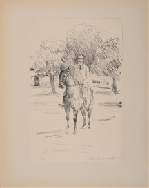 Artwork by Lovis Corinth, 2 works: GENTLEMEN ON HORSEBACK (SCHWARZ 66 AND 274), Made of Engraving and lithograph on wove and laid papers