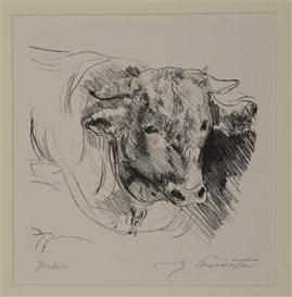 Lovis Corinth, 3 works: MOUNTAIN LION (SCHWARTZ 195); GRAZING HEARD (SCHWARTZ 275); BULL (SCHWARTZ 92)