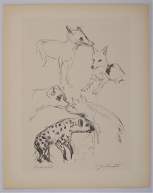 Artwork by Lovis Corinth, ANIMAL STUDIES (SCHWARZ 310 AND 311), Made of Soft ground etchings, on wove paper