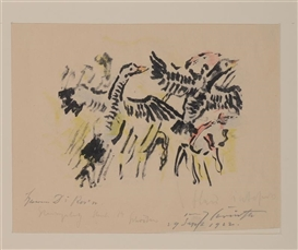 Artwork by Lovis Corinth, 2 works: FLYING GEESE; CROW, Made of Lithograph in colors; etching
