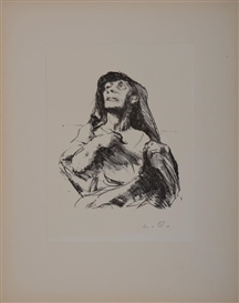 Artwork by Lovis Corinth, 2 works: ULYSSES; CLOAKED MAN, Made of Lithograph and soft ground etching, on laid paper