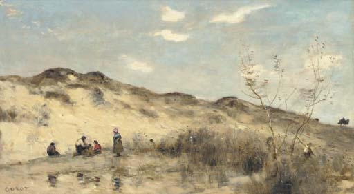 Artwork by Jean Baptiste Camille Corot, La dune de Dunkerque, Made of oil on cradeled panel