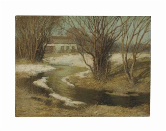 House by a Stream By Frederick J. Mulhaupt