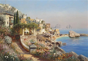 A villa on the coast, Capri By Alois Arnegger