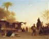 Charles-Théodore Frère, A Cairo bazaar at dusk