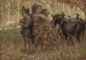 The young goatherds By Raffaele Armenise