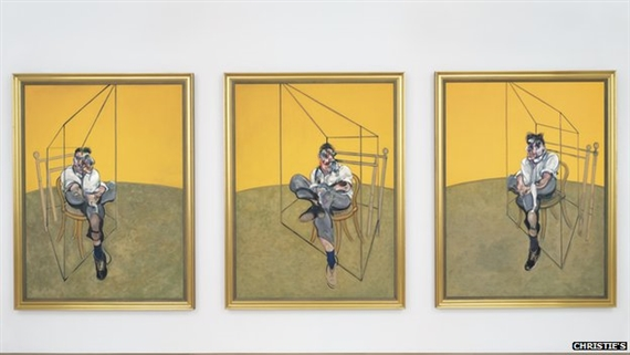 Francis Bacon, Three Studies of Lucian Freud, 1969. Courtesy Christie's Auction House.