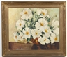 Hazel Rheinschild, Still life of white flowers in an orange vase