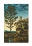 Lucas Cranach the Elder, Landscape with a tree and a fortress on a rocky cliff - a fragment